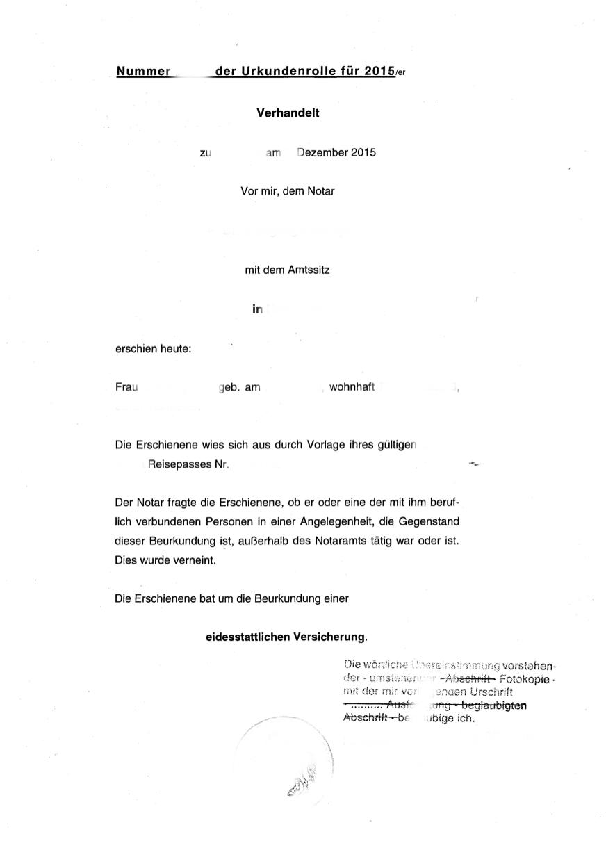 Eidesstattliche Versicherung - Heiraten in Dänemark Berlin